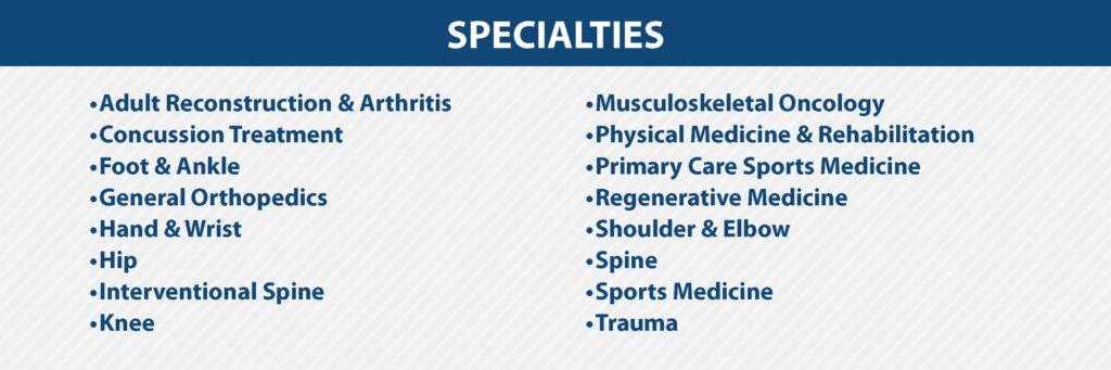 Florida Orthopaedic Institute Specialties