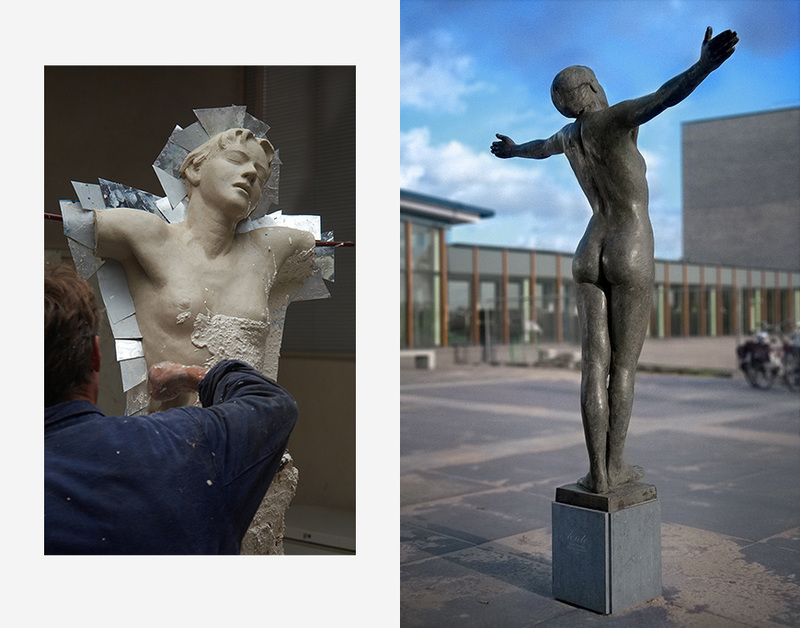 Beeldhouwwerk in hout steen & brons - Karoly Szekeres