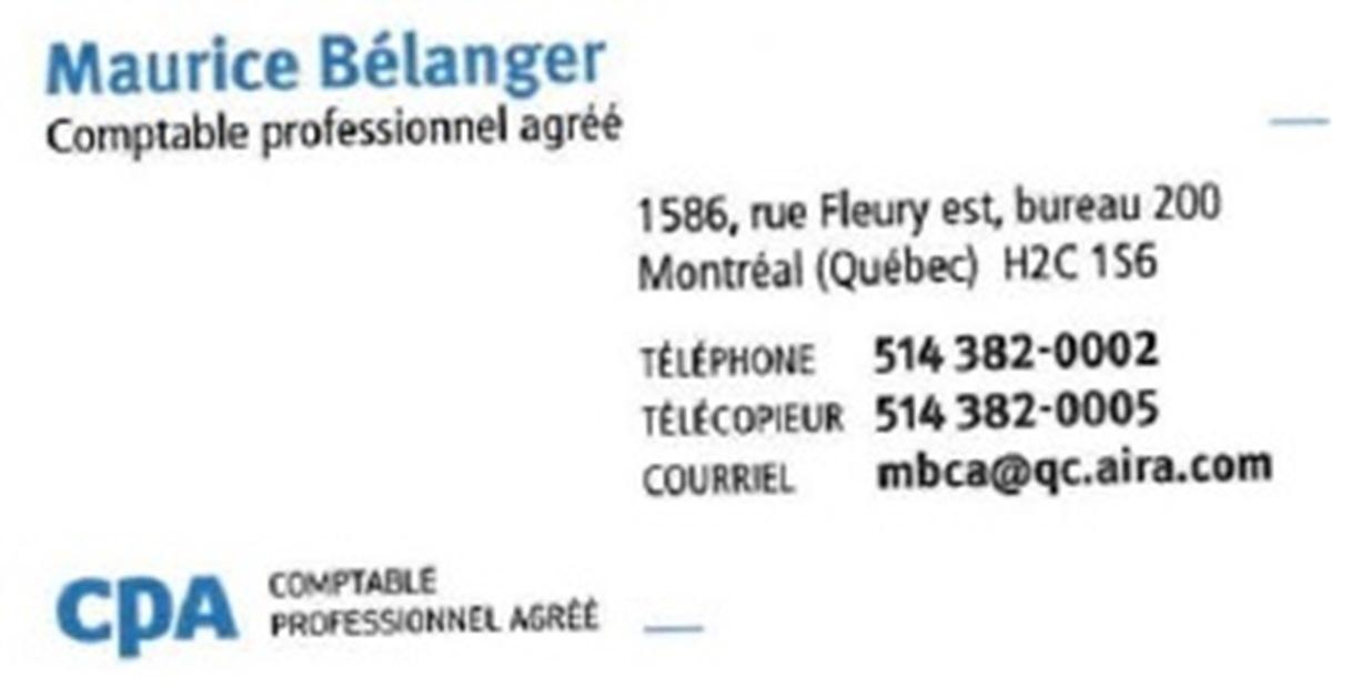 Bélanger Maurice CPA Auditeur CA à Montréal