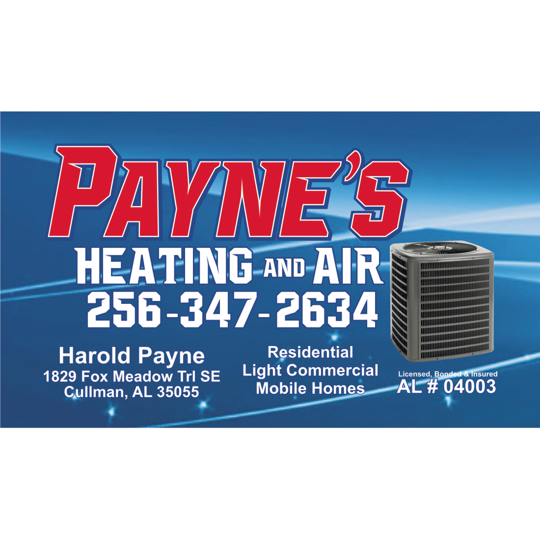 Payne's Heating and Air Conditioning Services