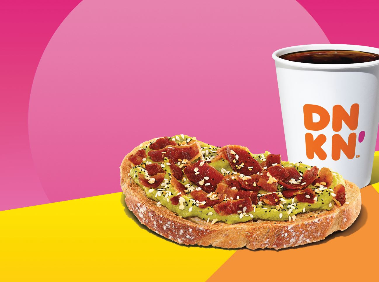 Dunkin' Bacon-Topped Avocado Toast with Sunrise Batch Coffee