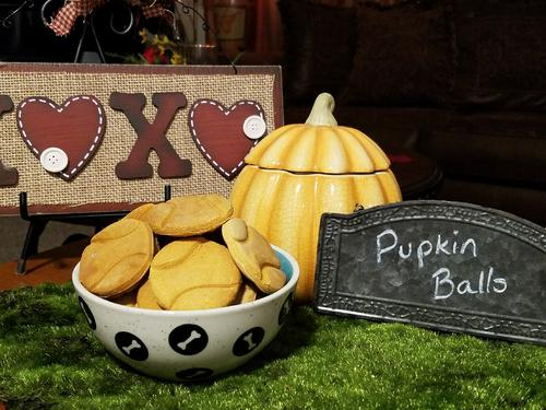 Pumpkin is a great source of fiber than can soothe a irritated tummy or help clear a constipated one!  These are our Pupkin Balls that are made with pureed pumpkin, Organic Honey and of course Gluten Free Flour!