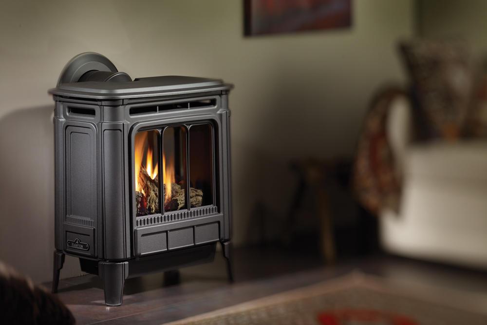 Fireplace Gallery in Edmonton: Hampton H27 Cast Iron Gas Stove - Black