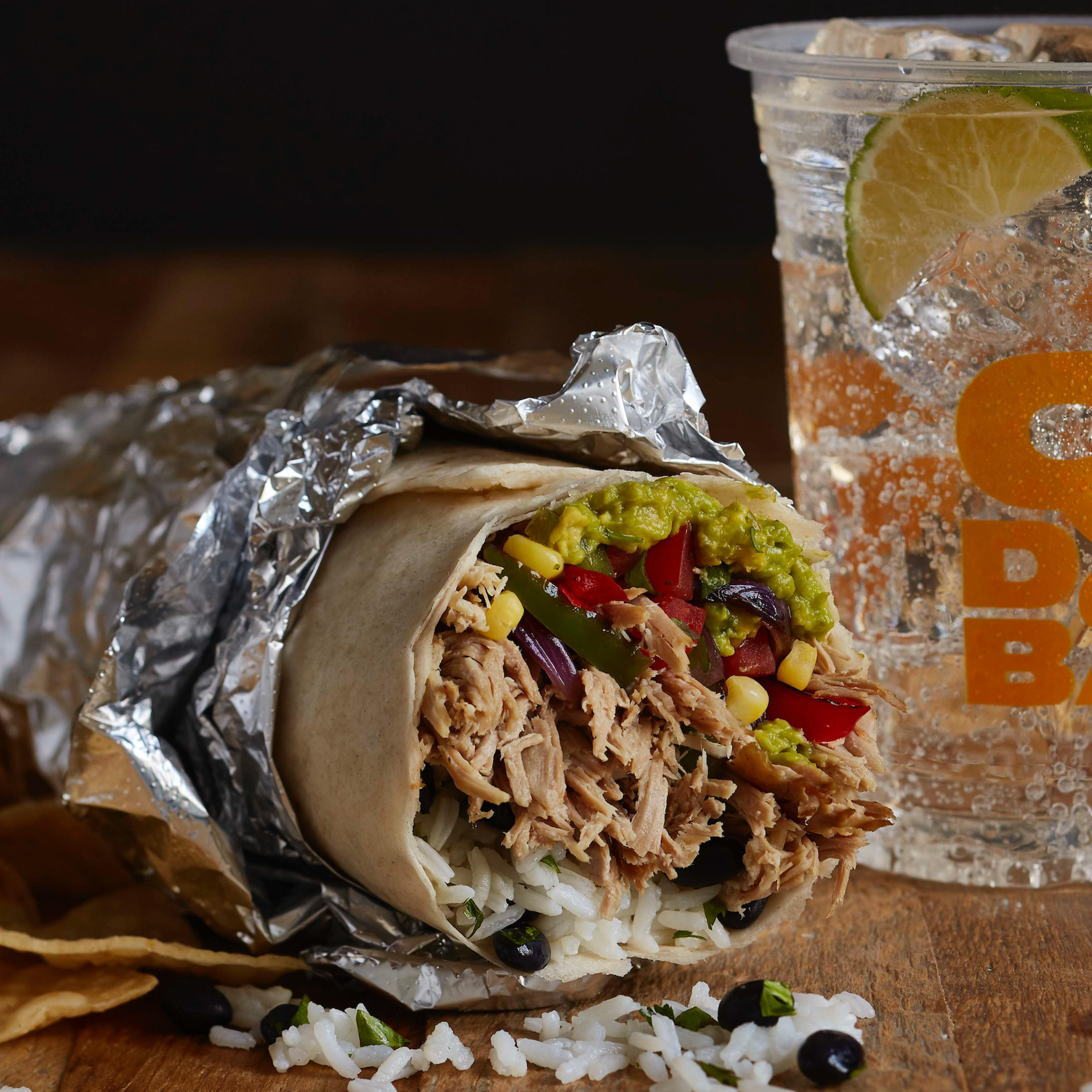Fill your burrito with made-in-house ingredients like pulled pork, fajita veggies and hand-smashed guac.
