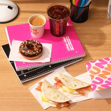 Dunkin' Cold Brew, Espresso Shot, Bacon Wake Up Wrap Sandwiches and Chocolate Frosted Donut
