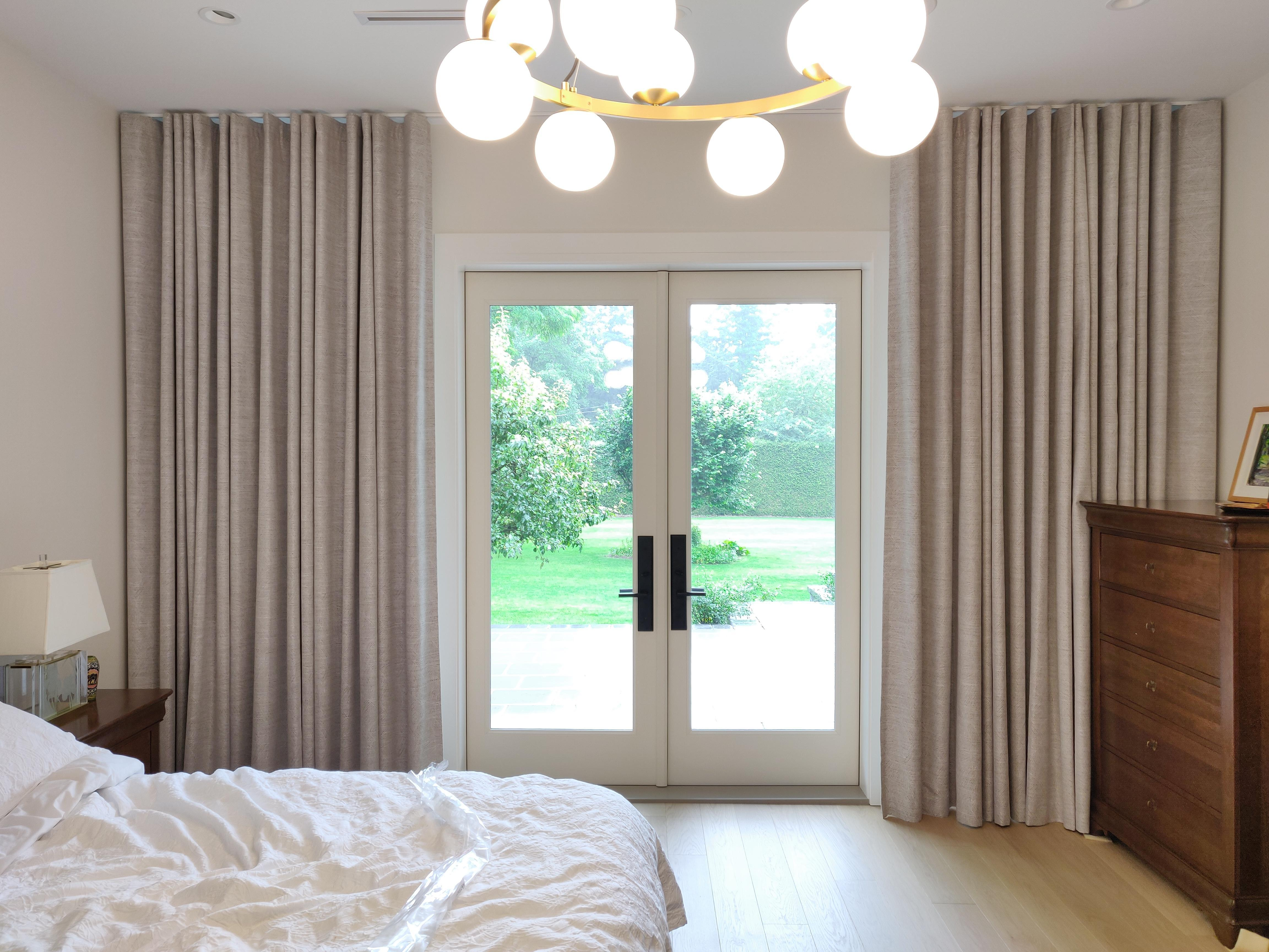 Budget Blinds of Delta, South Surrey and White Rock in Delta: Custom ceiling mounted wave fold drapery imported from Holland