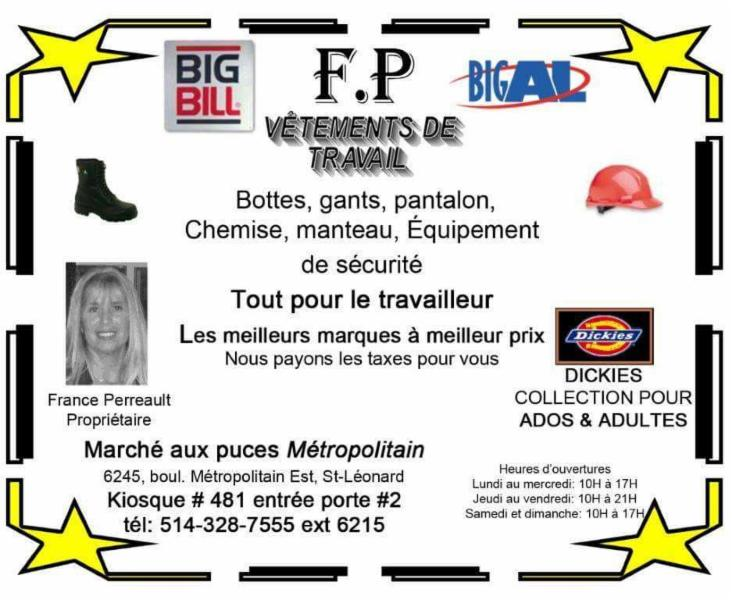 F.P Vetements de travail - Saint-Leonard, QC H1P 1X7 - (514)892-0033 | ShowMeLocal.com