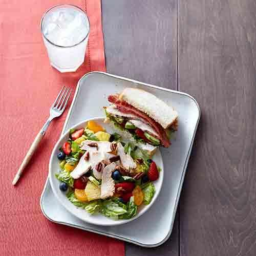 Try our returning favorite, the Strawberry Poppyseed Salad with Chicken, paired with our Roasted Turkey & Avocado BLT.