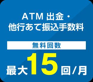 ATM出金・他行あて振込手数料 無料回数最大15回/月