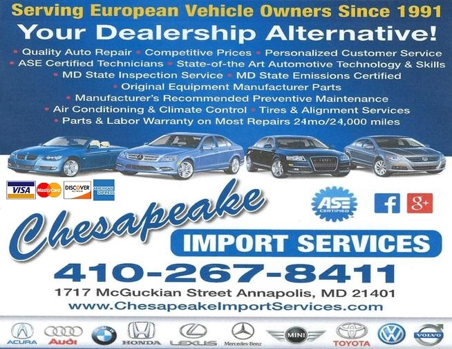 Chesapeake import services in annapolis md 21401 for Mercedes benz of annapolis service coupons