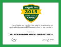 The Lint King  Angie's List Super Service Award 2019