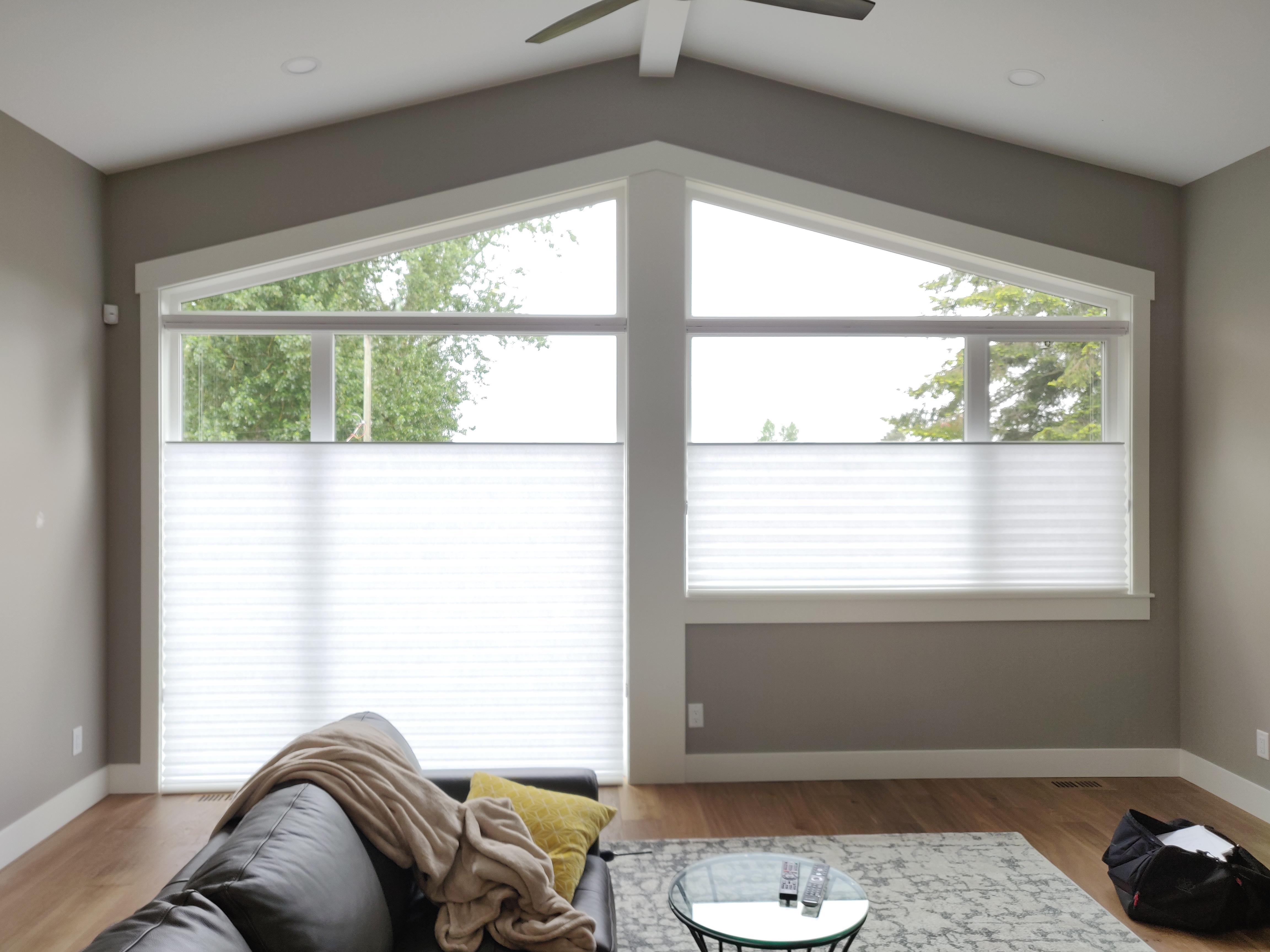 Budget Blinds of Delta, South Surrey and White Rock in Delta: Top-Down Bottom-Up Cellular Shades for privacy and heat control