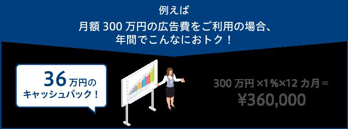 例えば月額300万円の広告費をご利用の場合、年間でこんなにおトク!36万円のキャッシュバック!300万円×1%×12ヶ月=360,000