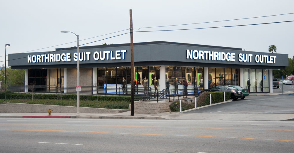 ABOUT THE SHOP. Well COME ON IN to Northridge Suit Outlet and let us earn your business! Family owned and operated for over 13 years, we strive to provide everyone who walks through our doors with the customer service that they deserve.