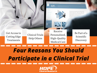 A clinical trial is an extremely important part of medical science. It is the final step in developing a new medication or treatment that can potentially save human lives. Here are four reasons you should participate in a clinical trial.