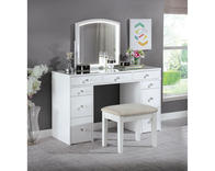 The Louise Vanity has both everything you need to get ready for the day and versatile storage for keeping your space tidy and organized. Neutral upholstery and smart white finish works well with existing decor. The set features multiple drawers, a mirror with integrated LED lighting, and an included stool with padded seat.