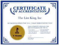 The Lint King  BBB A+ Accredited Service Award