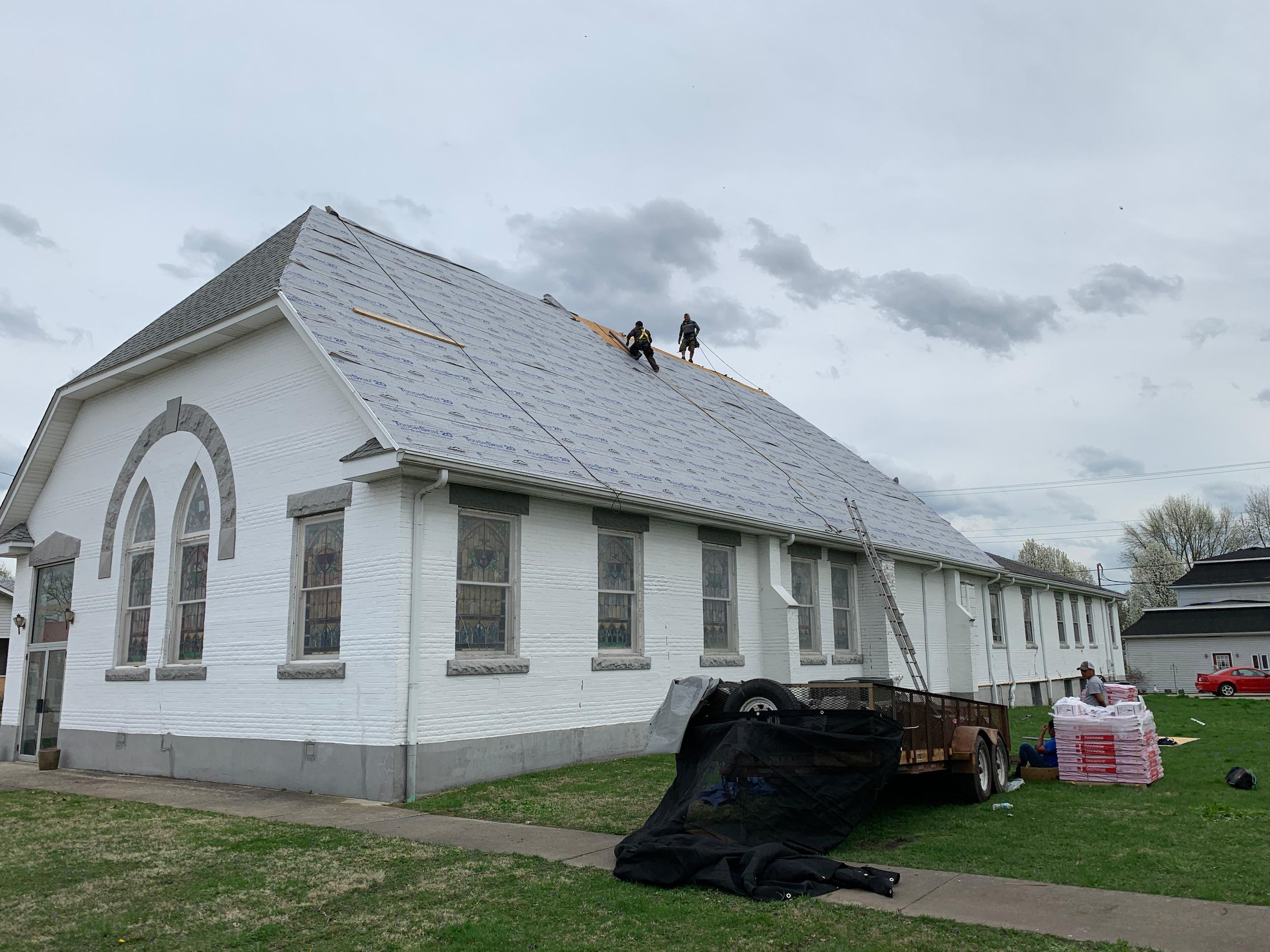 Commercial roofing Indiana contractor church project.