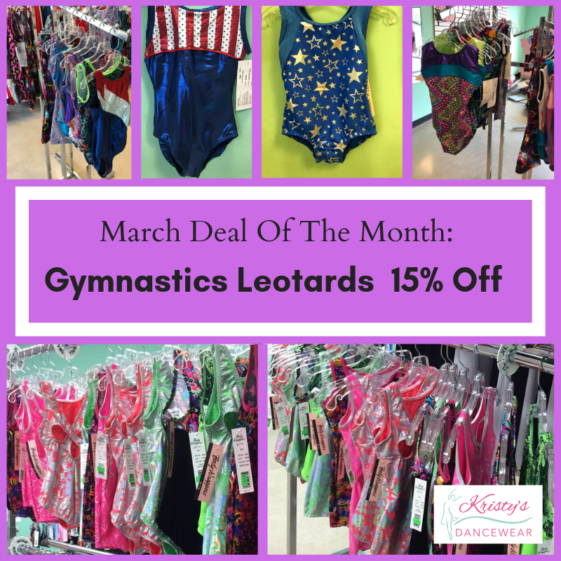 3d52a735d98 Gymnastics Leotards Now On Sale! During March all Gymnastics Leotards at  Kristy s are 15% off! Visit Us Today!