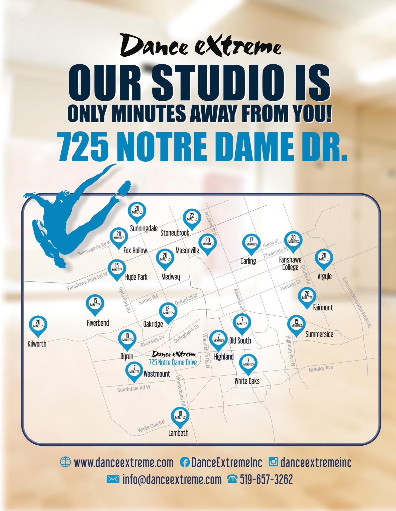 Dance Extreme Inc in London: Only minutes away from you! Come visit our at 725 Notre Dame Drive.