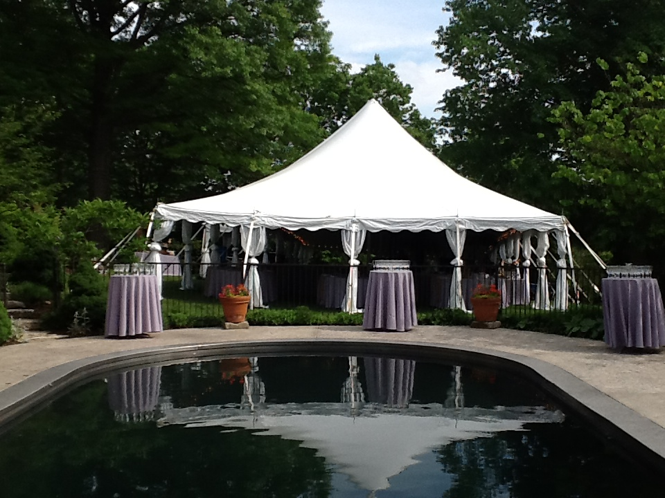 Wedding Tent With Cocktail Tables Setup In Florence Kentucky
