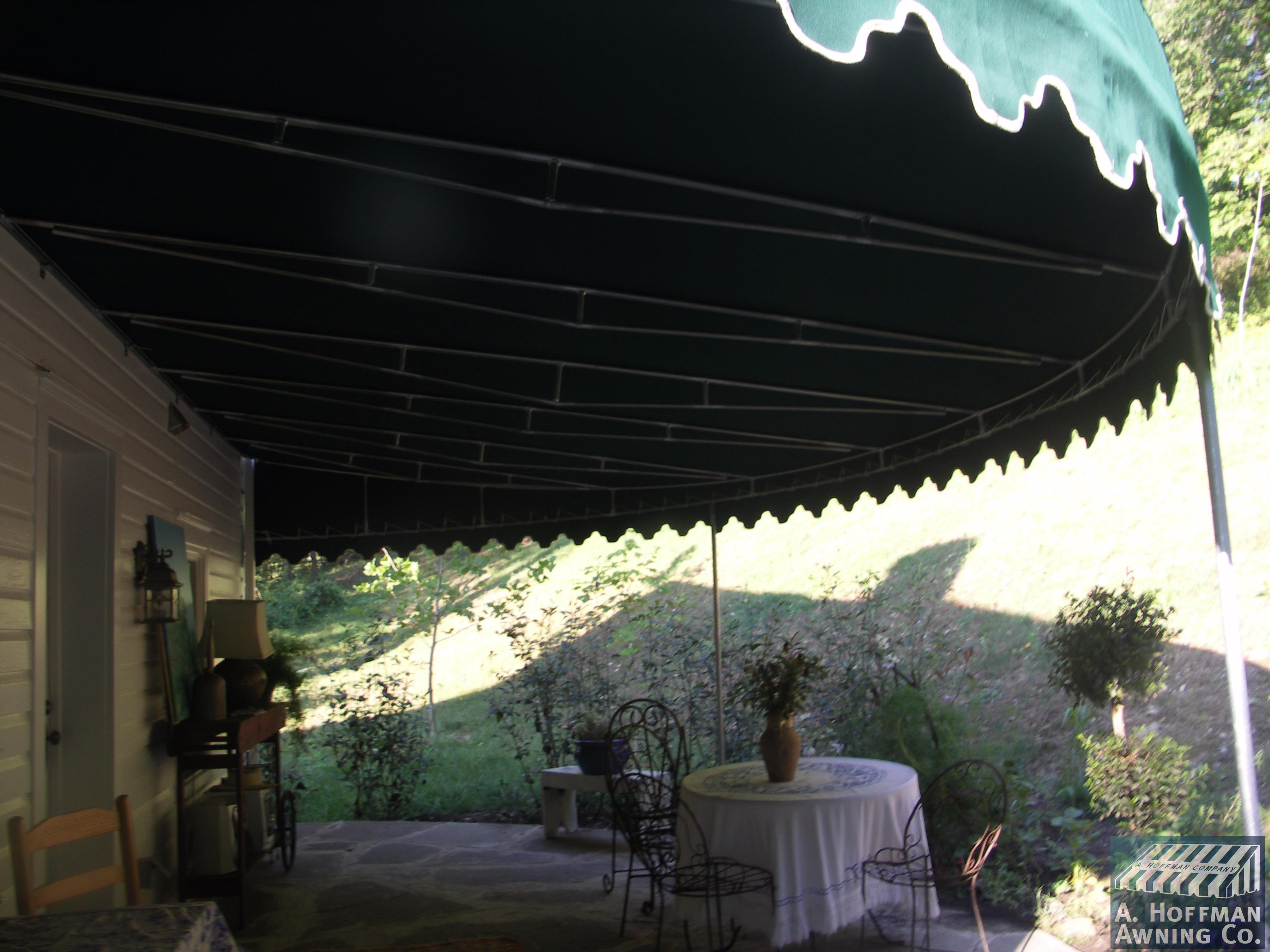 A. Hoffman Awning in Baltimore     410-685-5687     This custom designed curved patio awning was designed to follow the curvature of a half round stone patio. The finished awning was stunning.
