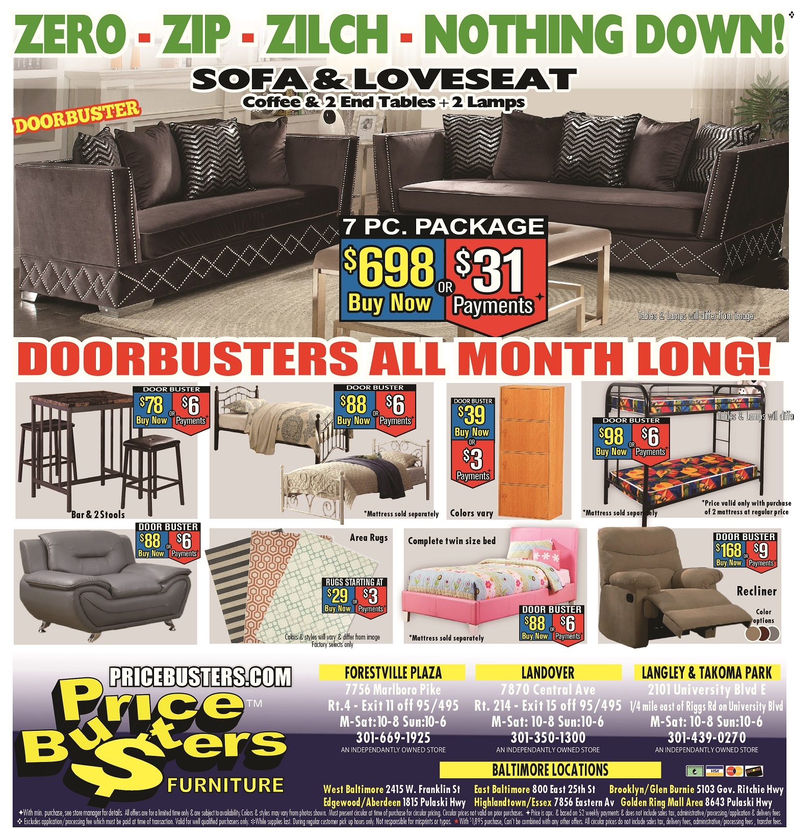Furniture Stores Prices: Price Busters Discount Furniture, Forestville Maryland (MD