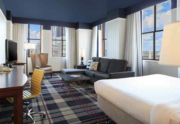Take in the amazing views of downtown Philadelphia from the two sets of windows in our corner queen room.