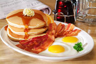 Pancake Combo - Pancakes or French toast, two eggs, your choice of bacon, sausage patties, sausage links, turkey sausage, ham or corned beef hash.