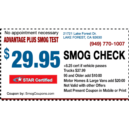 Advantage Plus Smog Test - Lake Forest, CA - Emissions Testing