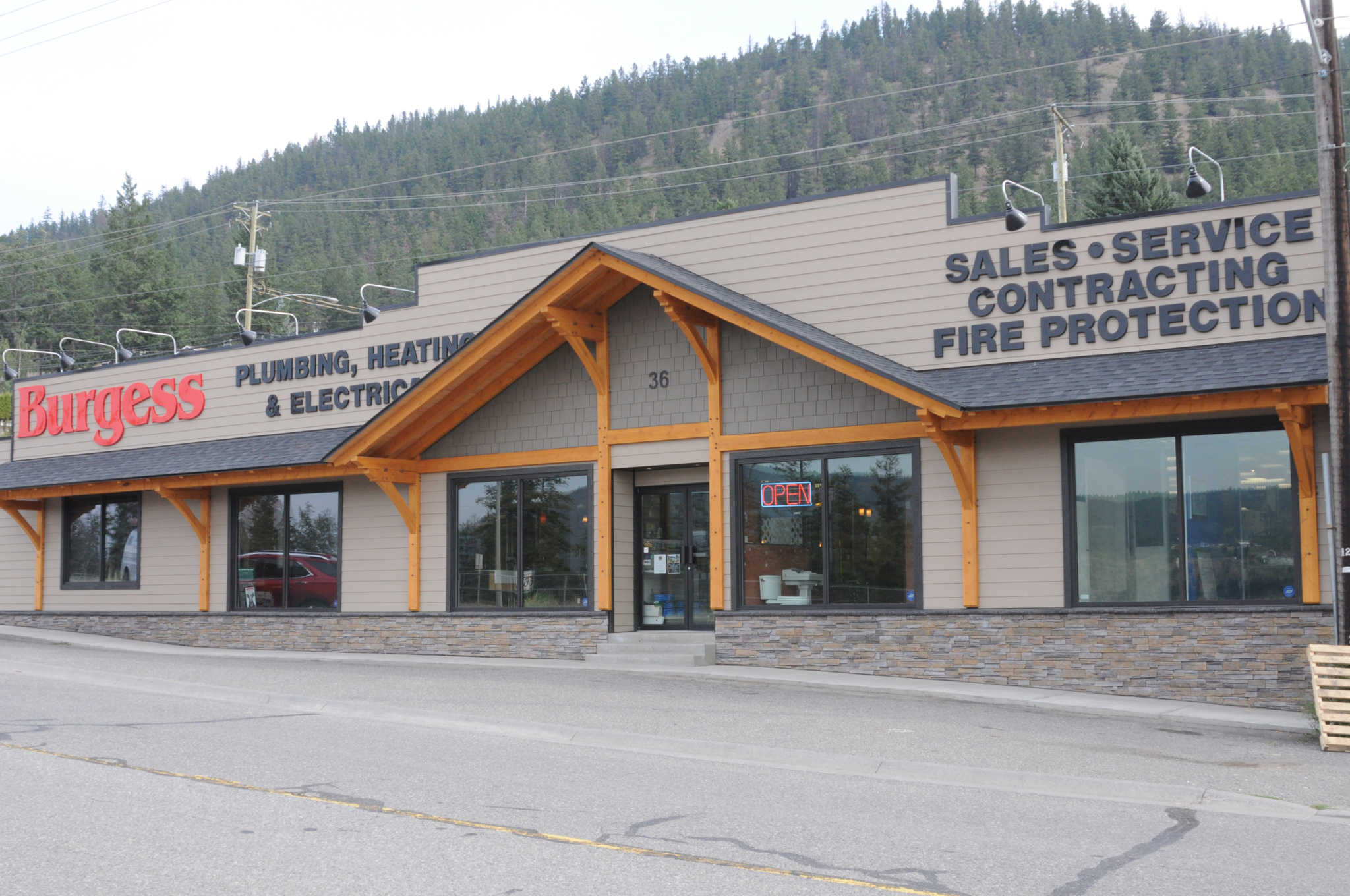 Burgess Plumbing Heating & Electrical Co Ltd in Williams Lake: Burgess Plumbing, Heating & Electrical store front on 36 Broadway Ave N Williams Lake BC