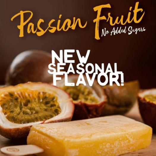 New seasonal flavor: Passion Fruit, No sugar added