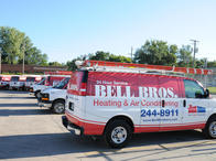 Bell Brothers Heating and Air Conditioning's fleet of service vans.
