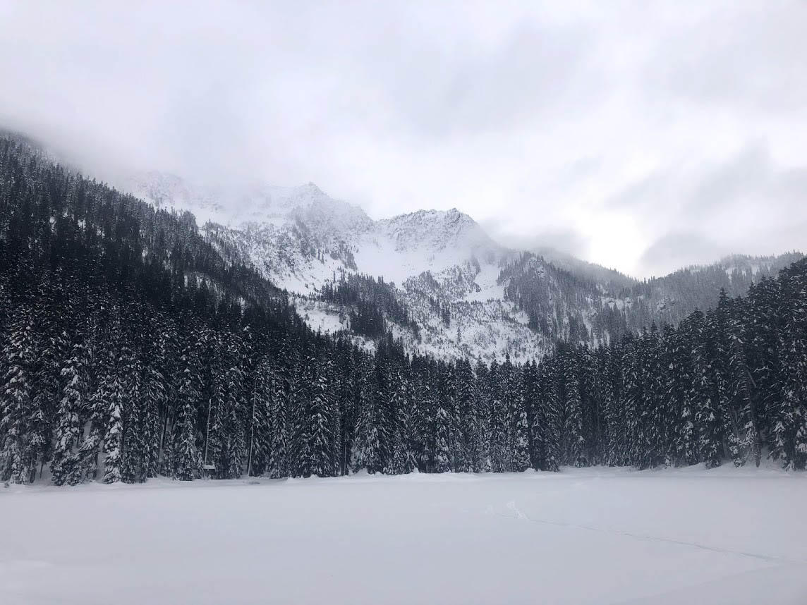 Snowshoeing Lanham Lake Trail at Stevens Pass