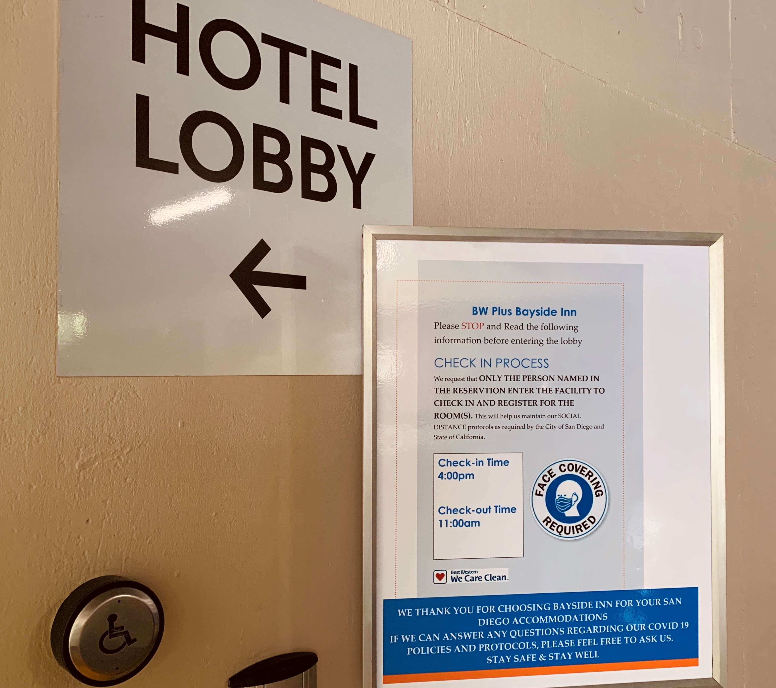 safe check in signage