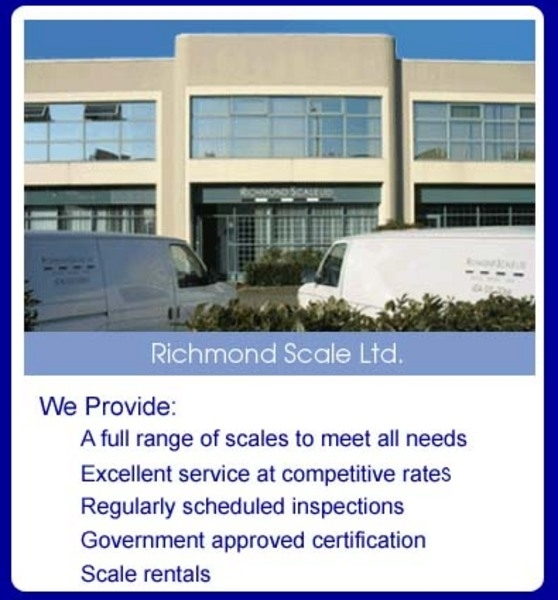 Manufacturer in BC Delta V3M 6J8 Richmond Scale Ltd 4-1520 Cliveden Ave  (604)525-0064