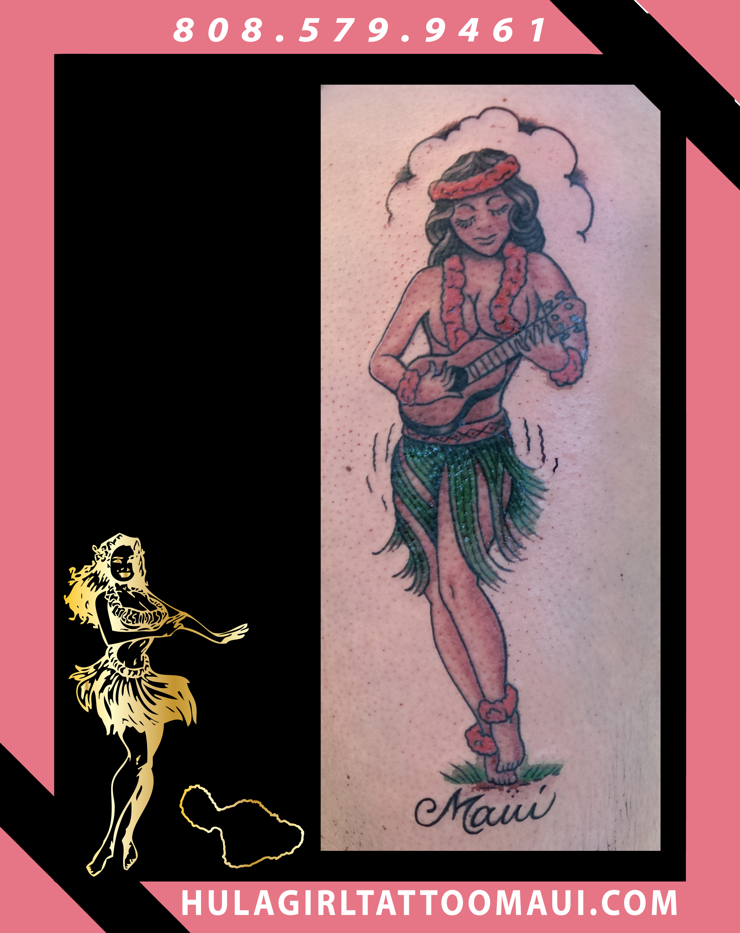 Hula Girl Tattoo Tattooing Paia Hawaii