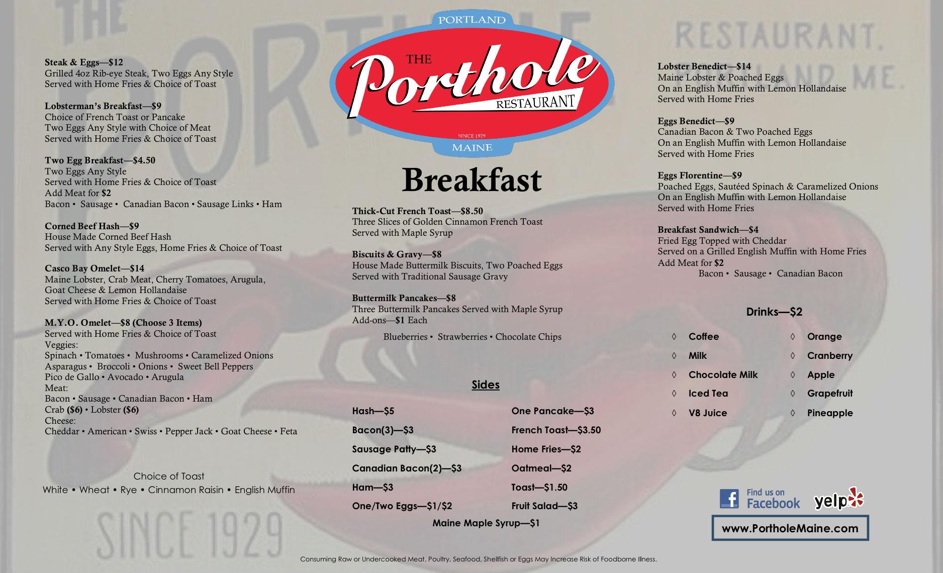 Porthole Restaurant Portland Maine Menu
