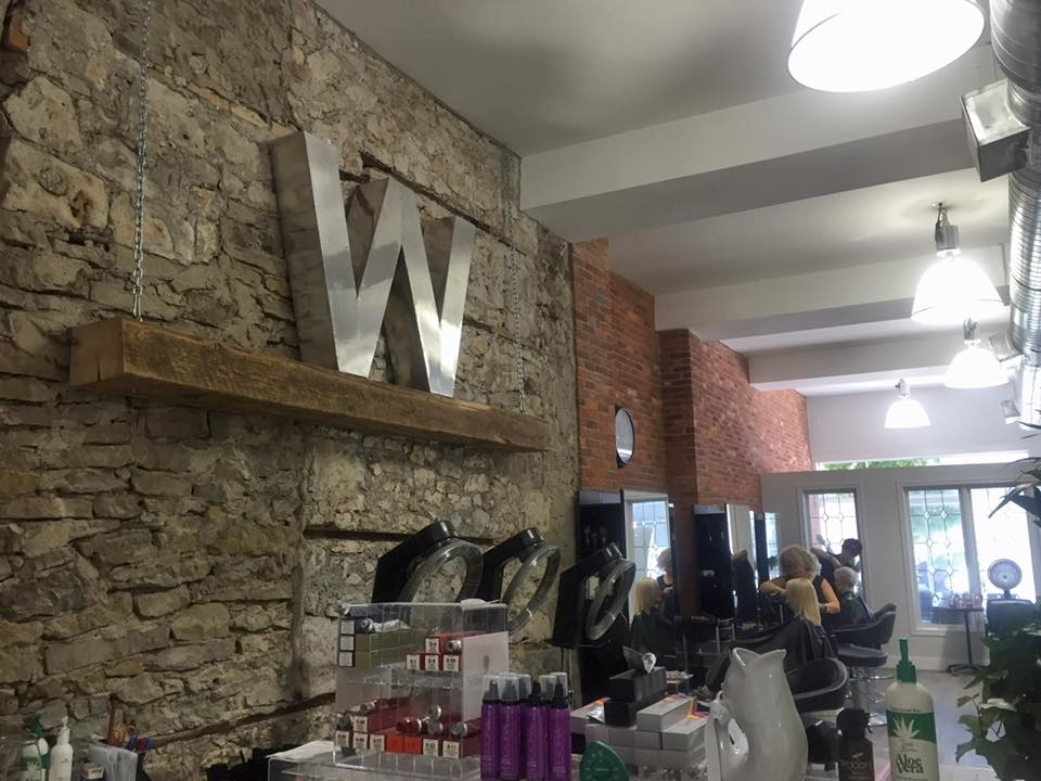 Wispers Hair & Day Spa in Cambridge: Inside Feature Wall