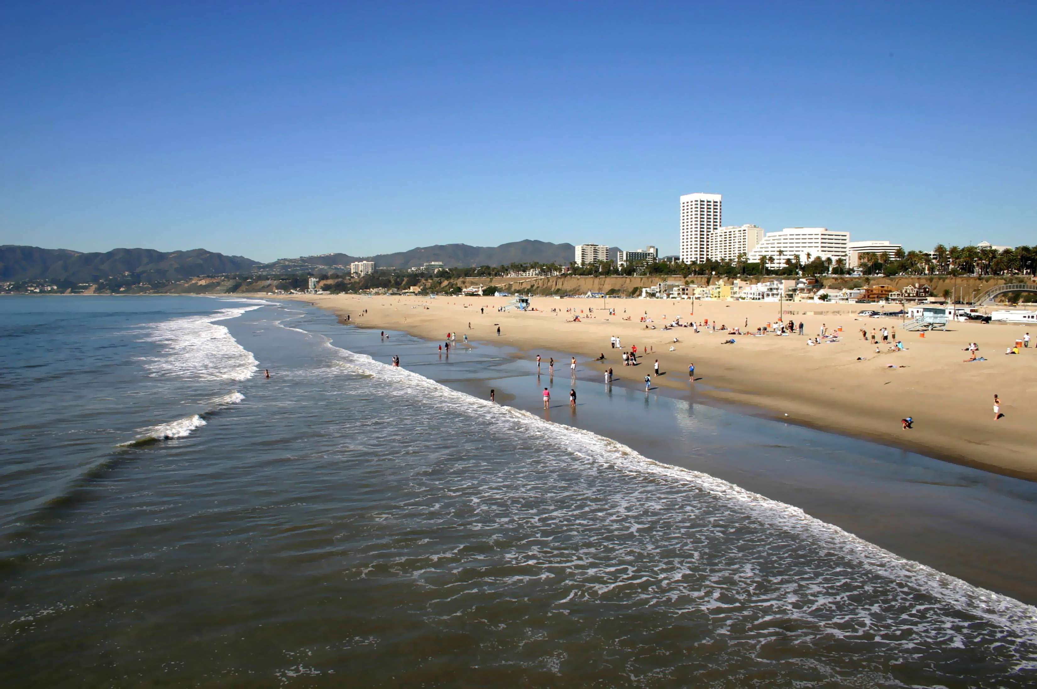 Visitors Enjoying Santa Monica Beach