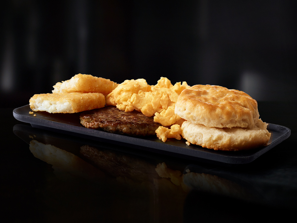McDonald's Big Breakfast: biscuit, scrambled eggs, hot sausage, and hash browns. McDonald's Carbondale (570)282-9835