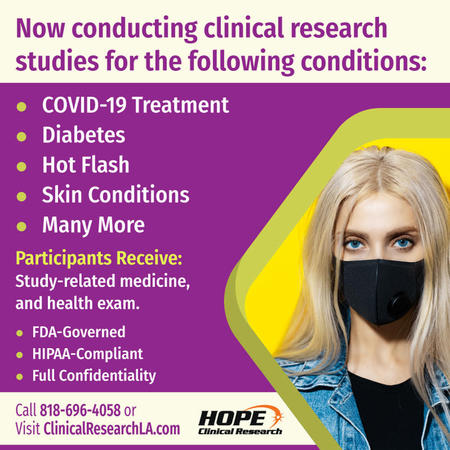 Free 15-minute COVID-19 test with same-day appointments in Canoga Park. If your results are positive, you may qualify to join a COVID-19 clinical trial.