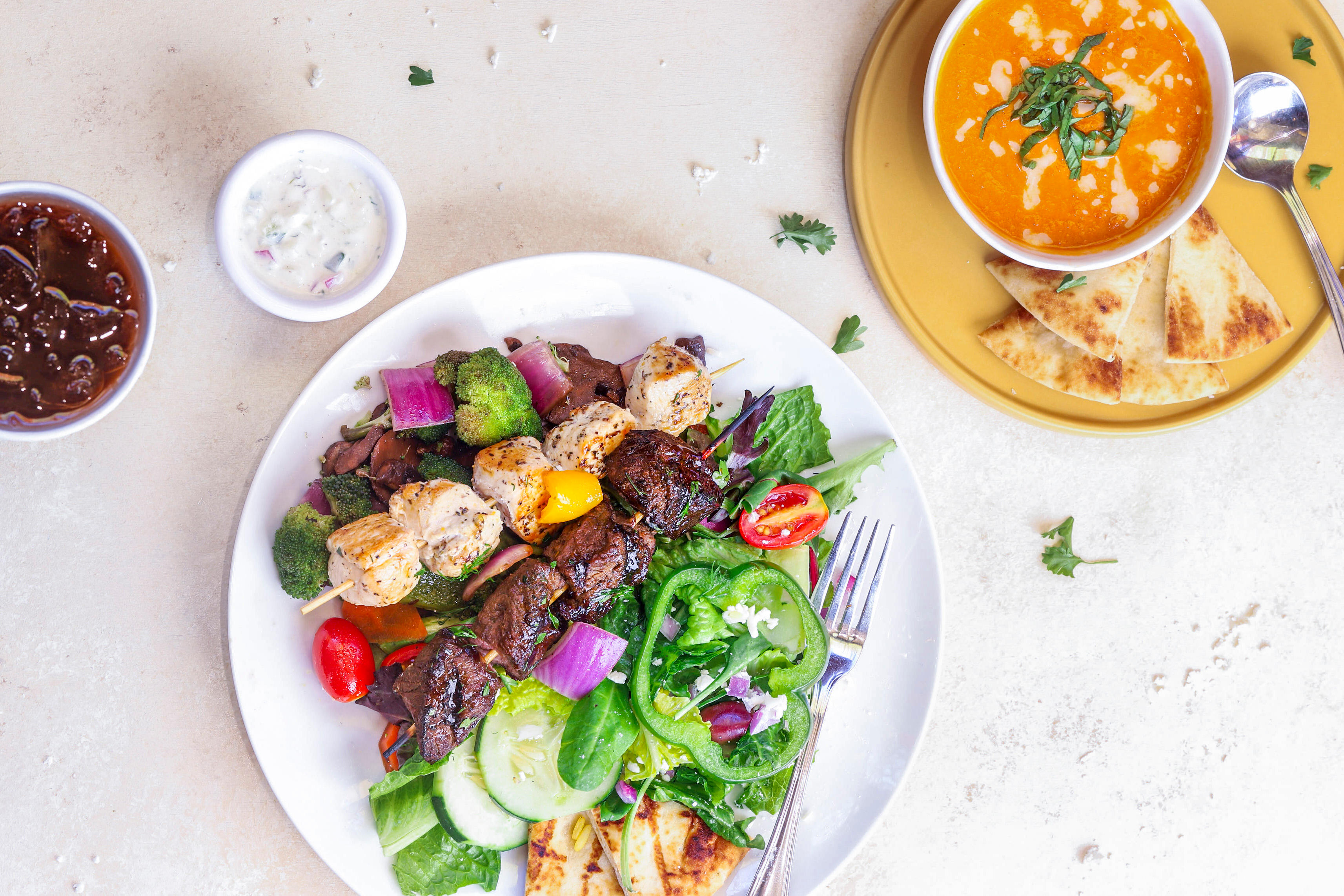 Kabob Combo (with Steak + Chicken) + Roasted Tomato Soup