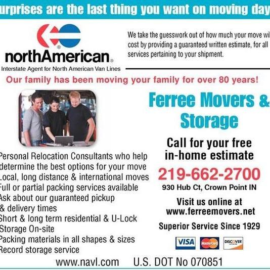 Ferree Movers and Storage Inc. - Crown Point, IN - Marinas & Storage