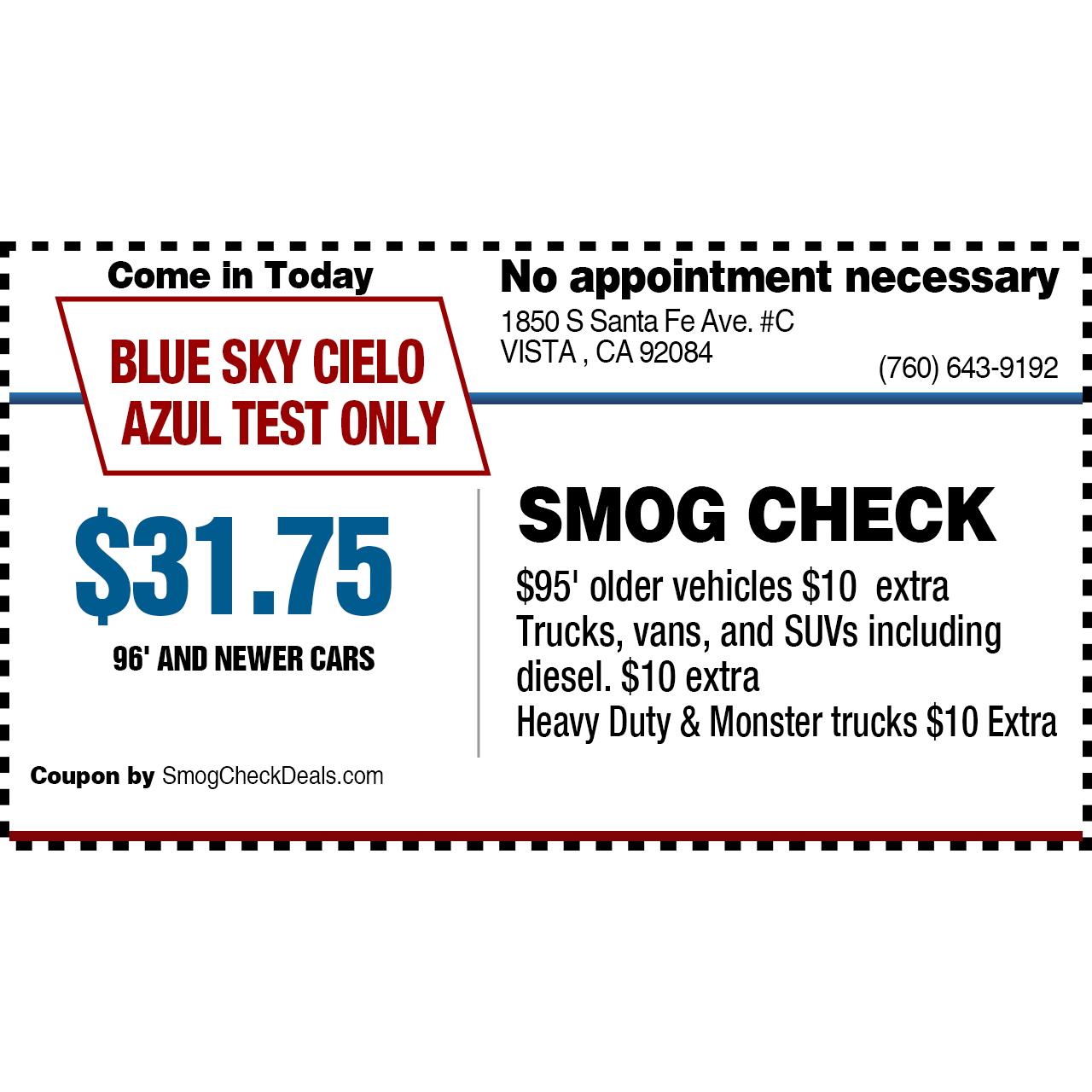 BLUE SKY Smog Check, Vista California (CA)