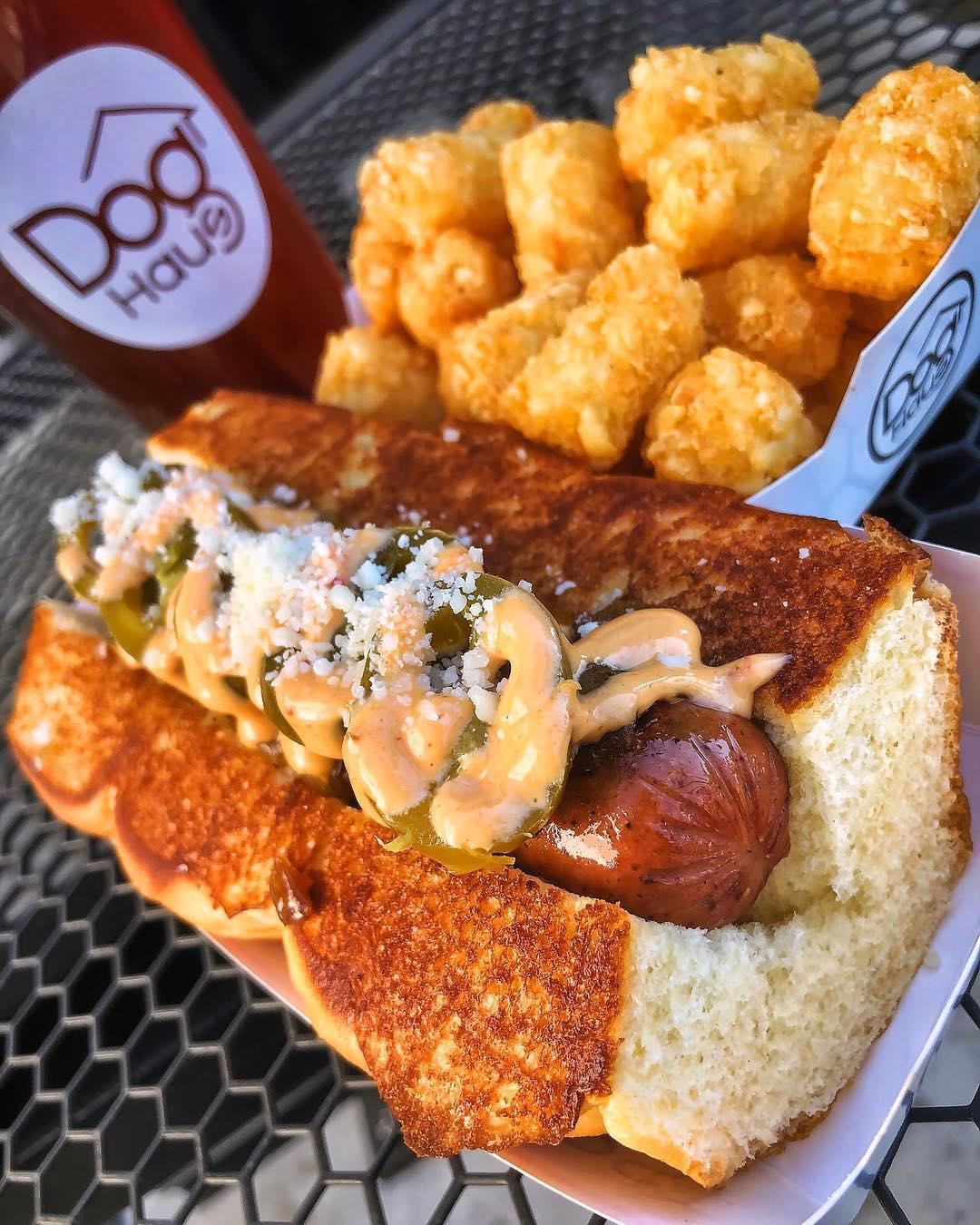 Dog Haus creates hand-crafted hormone- and antibiotic-free hot dogs, sausages, burgers and one Bad Mutha Clucka, all served on King's Hawaiian rolls. Crush one, then wash it down with one of our local craft beers.