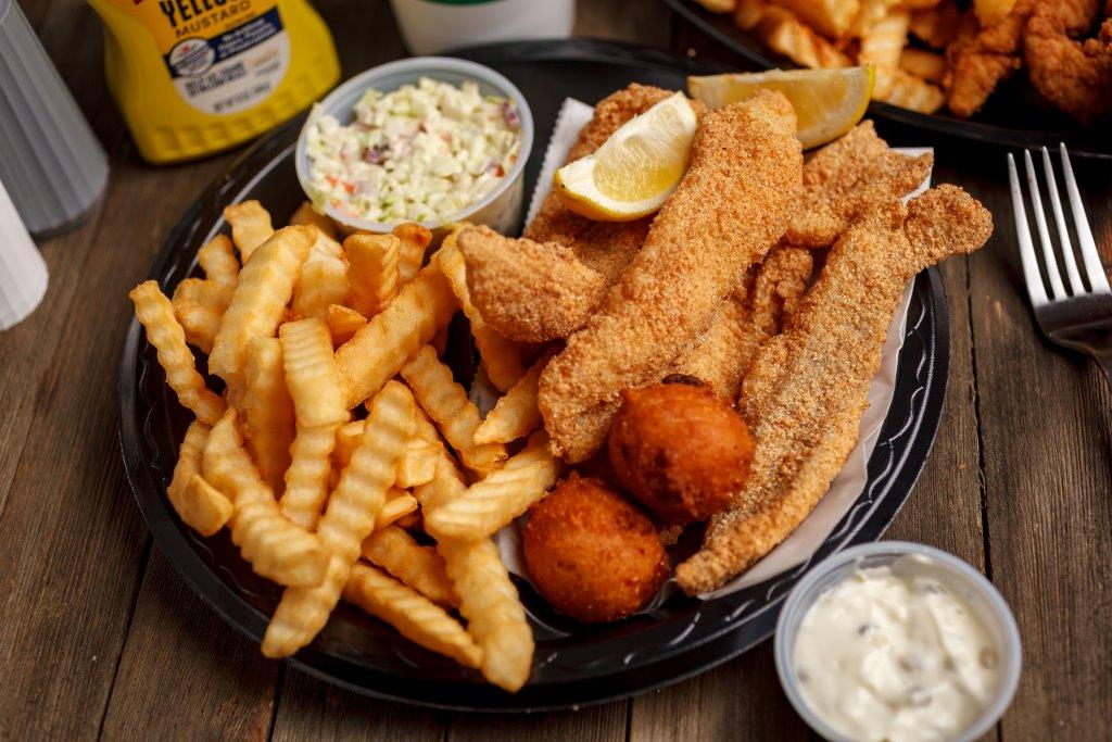 Louie's catfish and hush puppies are made fresh when you order