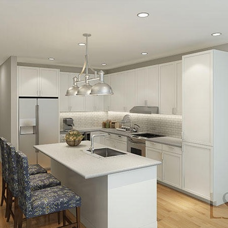 A kitchen in an apartment unit at The Barclay at Southpark