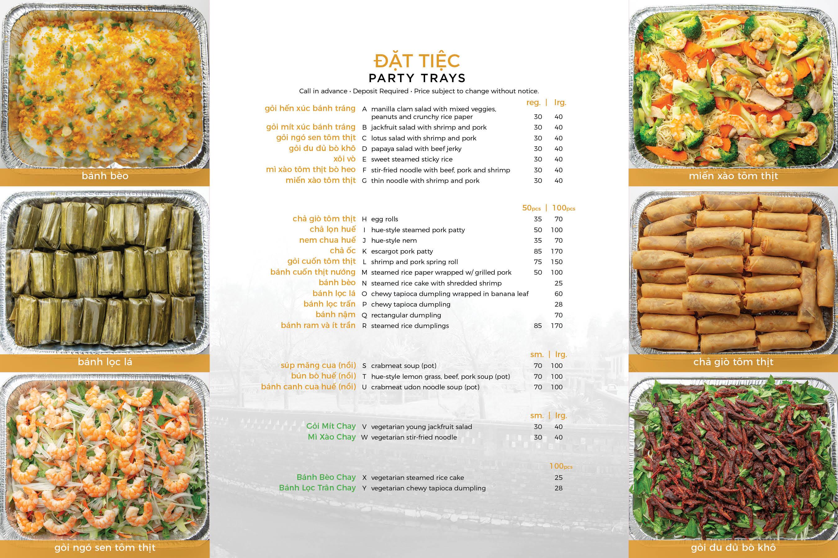 Party Tray Menu ???????? https://fivestarshue.com El Monte Tel:626-579-3988 10053 Valley Blvd., #2,  5 Stars Hue Duarte (626)531-7688