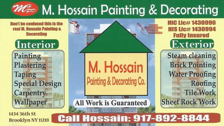 M Hossain Painting & Decorating Company. General Contructor.